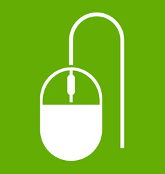 computer mouse icon green vector image
