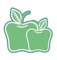 Contour delicious apples healthy fruit vector