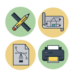 creative process icons set vector image