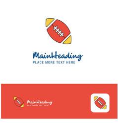 creative rugby ball logo design flat color logo vector image