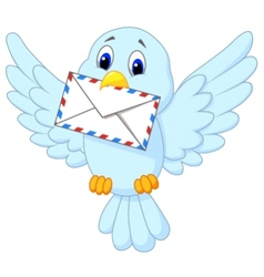 Cute bird delivering letter vector image