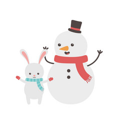 cute snowman and rabbit with scarf and hat merry vector image