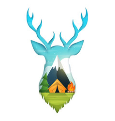 deer cartoon paper landscape tent vector image