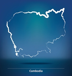 Doodle Map of Cambodia vector image