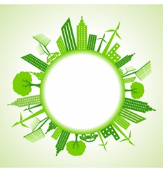 Eco cityscape around circle vector