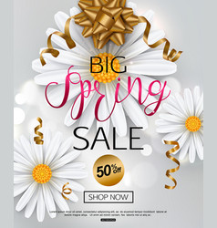 elegant spring sale banner with chamomile flower vector image