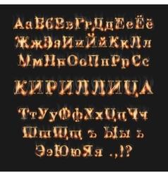 Fire burning cyrillic russian alphabet vector image