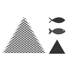 Fish halftone filled triangle composition vector