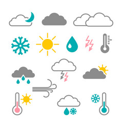 flat design weather icons vector image