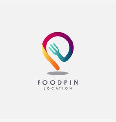 fork and map pin logorestaurant logo icon vector image