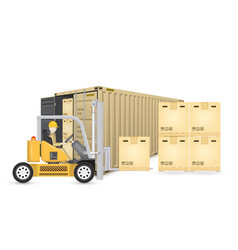 Forklift cargo container vector