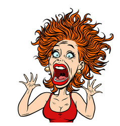 Funny scared woman vector