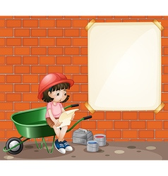 Girl at construction site vector