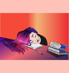 Girl who studied sleeping on a book vector