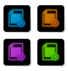 glowing neon transfer files icon isolated on vector image
