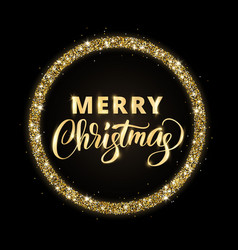 Gold and black merry christmas card with hand vector