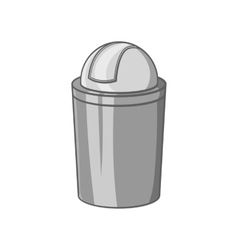 Gray trash can icon black monochrome style vector