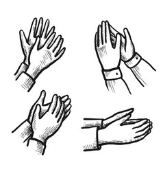 hand drawn ovation sketch isolated icon set vector image