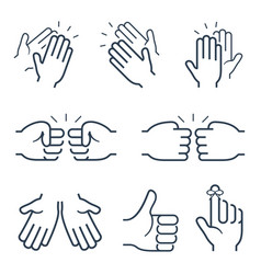Hand gestures icons clapping brofisting and other vector