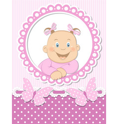 Happy baby girl scrapbook pink frame vector