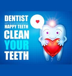 Helthy tooth cartoon character stomatology design vector