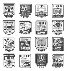 Hockey sport championship badge icons vector