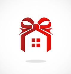 House realty present ribbon logo vector
