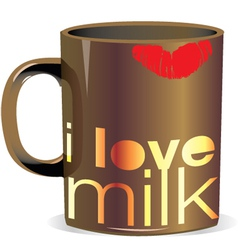 I love milk cup vector image