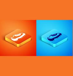 Isometric baseball boot icon isolated on orange vector