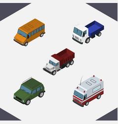 Isometric transport set of armored autobus vector