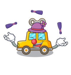Juggling clockwork toy car isolated on mascot vector