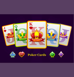 king queen and jack playing card suits with crown vector image