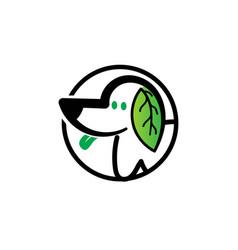 leaf dog animals pet logo designs vector image