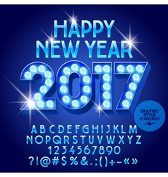 Light bulb Happy New Year 2017 greeting card vector