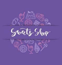 linear style sweets icons vector image