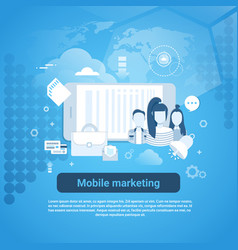 mobile marketing concept business web banner with vector image