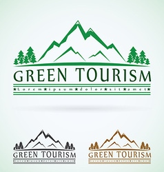 Mountains vintage logo design template green vector