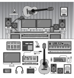 musician workspace with musical instruments sound vector image