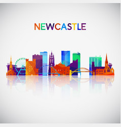 newcastle skyline silhouette in colorful vector image
