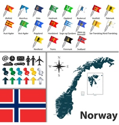 Norwegian map with flags vector