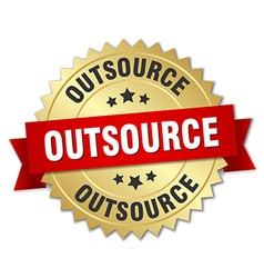 outsource 3d gold badge with red ribbon vector image