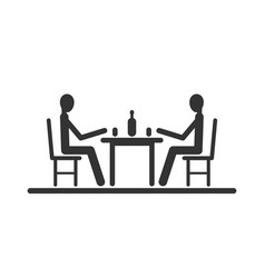 Pictogram two stick figure sitting at the table vector