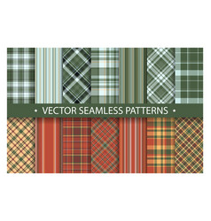 plaid pattern seamless ornate set red and green vector image