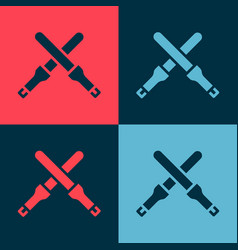 Pop art marshalling wands for aircraft icon vector
