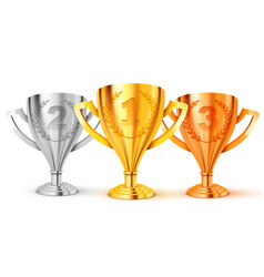 Realistic golden trophy first second and third vector