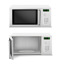 Realistic microwave with digital display vector