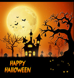 scary church with bats hanging on tree vector image