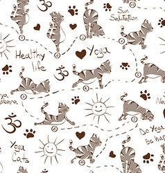 Seamless pattern with cat doing yoga position of vector image