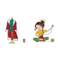 Seamstress girl sewing santa christmas costume vector