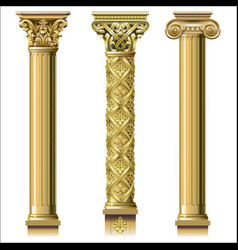 Set of classic gold columns vector